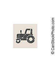 style, tractor., poly, illustration, paysan, bas