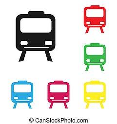 style., trem, colorido, icon., elétrico, jogo, apartamento, branca, isole, trains., fundo, silhuetas