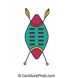 style, tribal, bras, africaine, icône, dessin animé