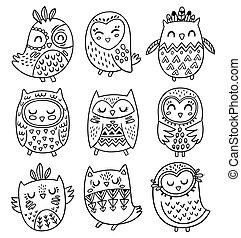 style, tribal, collection, main, hiboux, vecteur, dessiné