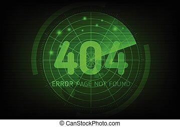style, trouvé, page, 404, erreur, pas, balayage, radar