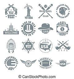 Style,  USA, icônes, ensemble, vendange,  simple,  logo