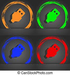 style., usb, orange, mode, moderne, icône, vert, symbole., vert, bleu, design.