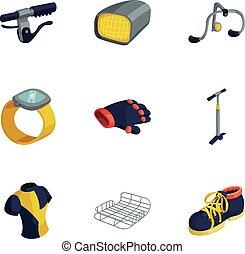 style, vélo, icônes, ensemble, équipement, dessin animé