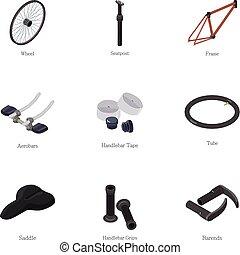 style, vélo, icônes, ensemble, outillage, dessin animé