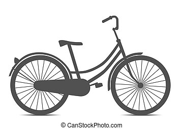style, vélo, isolé, noir, retro, fond, blanc
