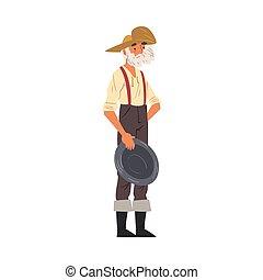 style, vêtements, illustration, vendange, mâle, porter, mûrir, barbu, prospecteur, caractère, ouest, sauvage, mineur, debout, vecteur, dessin animé, casserole or