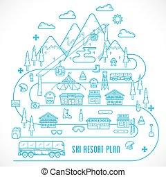 style, vacances, illustration, recours, vecteur, ligne, ski