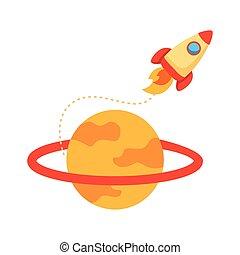 style, vaisseau spatial, fusée, saturne, lanceur, plat, icône
