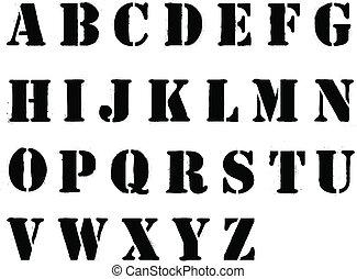 style, vaporisé, lettres, alphabet, stencil, noir, grafitti