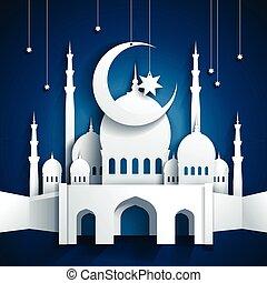 style, vecteur, étoiles, -, mosquée, ramadan, lune, papier, métier, croissant, fond, 3d, kareem, ou, ramazan