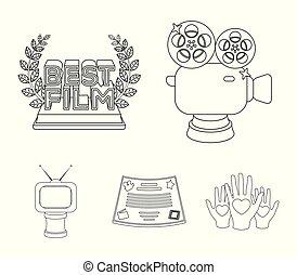 style, vecteur, formulaire, récompense, icônes, tv, symbole, contour, web., collection, autre, illustration, appareil-photo., types, prizes.movie, prix, argent, bronze, stockage