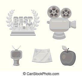 style, vecteur, formulaire, récompense, icônes, tv, symbole, web., collection, autre, illustration, appareil-photo., prizes.movie, types, monochrome, prix, argent, bronze, stockage