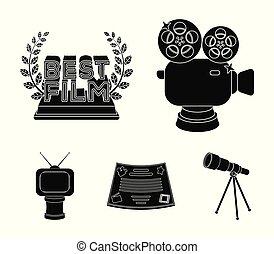 style, vecteur, formulaire, récompense, icônes, tv, symbole, web., collection, autre, noir, illustration, appareil-photo., types, prizes.movie, prix, argent, bronze, stockage