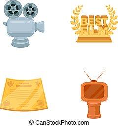 style, vecteur, formulaire, récompense, icônes, tv, symbole, web., collection, dessin animé, autre, illustration, appareil-photo., types, prizes.movie, prix, argent, bronze, stockage