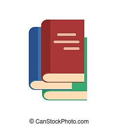 style, vecteur, illustration, livres, plat, icône, pile, stockage, blanc