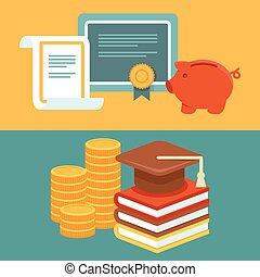 style, vecteur, investir, plat, concept, education
