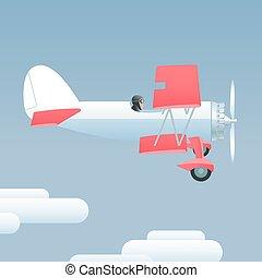 style, vecteur, retro, illustration, avion