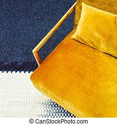 style, velours, fauteuil, jaune, sombre, retro