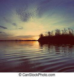 style, vendange, -, coucher soleil, retro, paysage rivière