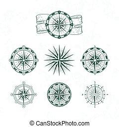 style, vendange, nautique, vecteur, maps., compass., rose, illustrations, marin, vent