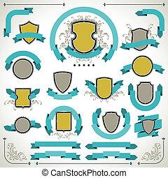 style, vendange, set., étiquettes, retro, rubans, boucliers