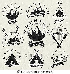 style, vendange, symboles, montagne