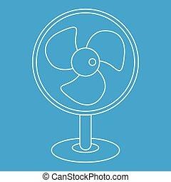 style, ventilateur électrique, icône, table, contour