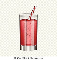 style, verre, smoothie, réaliste, mockup, rouges