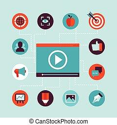 style, vidéo, vecteur, plat, commercialisation, concept