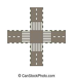 style, vide, icône, intersection, dessin animé, route
