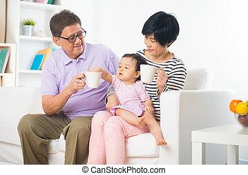 style, vie, daugther, grandiose, asiatique, parents, backgrou