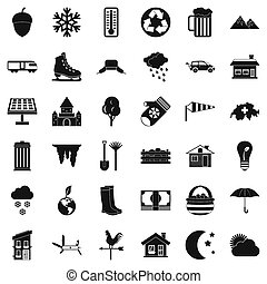 style, vie pays, ensemble, icônes simples