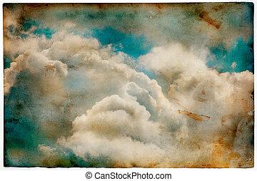 style, vieux, ciel, nuageux, papier, retro, fond, grunge