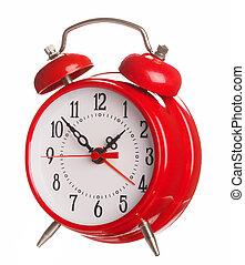 style, vieux, horloge, reveil, isolé, blanc rouge