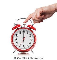 style, vieux, horloge, reveil, isolé, main, blanc rouge