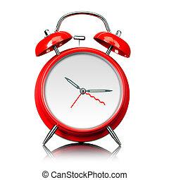style, vieux, horloge, reveil, isolé, monture, temps, prêt, blanc rouge