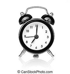 style, vieux, horloge, reveil, isolé, noir, blanc