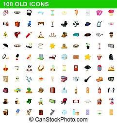style, vieux, icônes, ensemble, 100, dessin animé