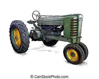 style, vieux, illustration, dessin animé, vert, comique, ou, tracteur
