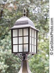 style, vieux, jardin, steampunk, poteau lampe, retro, lanterne