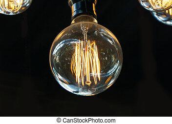 style, vieux, lumière, éclairage, ampoule, ou