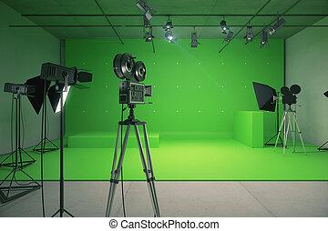 style, vieux, photo, moderne, appareil photo, vert, studio film, vide
