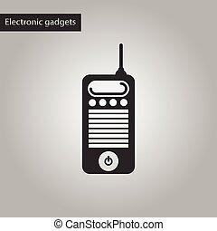 style, vieux, téléphone portable, noir, blanc, icône