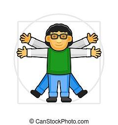 style, vinci, vitruvian, signe, leonardo, vecteur, hipster, icon., da, logo., homme