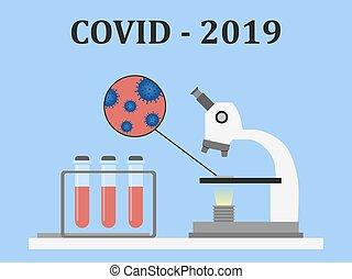style., virus, mikroskop, prov, illustration, blod, tubes., covid-2019., celler, vektor, lägenhet, pröva, undersökta