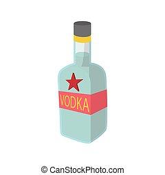 style, vodka, bouteille, dessin animé, icône