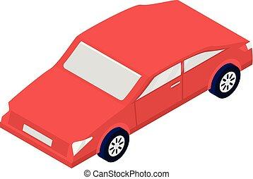 style, voiture, rouges, icône, isométrique