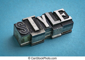 style word abstract in gritty vintage letterpress metal types,