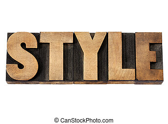 Style word in wood type